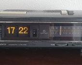 Vintage Sony BLACKLIGHT flip clock very rare 70s