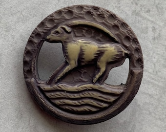 Vintage Celluloid Ibex Button; Long Horned Mountain Goat Button;  1 Button; Animal Button