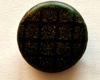 Big Crocheted Beaded Black Glass Beads Large Threadback Antique Button Old Crochet