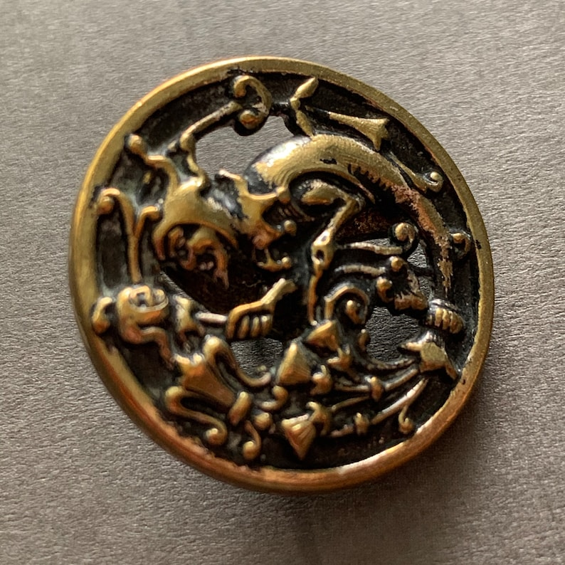 Antique Brass Button A.P Pierced Button; Back Mark /& C Paris Depose Button 1-116 Jester With Fool/'s Baton