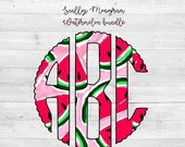 Scallop Monogram PNG, Watermelon, Monogram, Full Alphabet, Instant Download, Digital Download, Sublimation File, Alphabet Pack