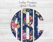 Scallop Monogram PNG,Floral Monogram, Floral 2, Full Alphabet, Instant Download, Sublimation File, Alphabet Pack