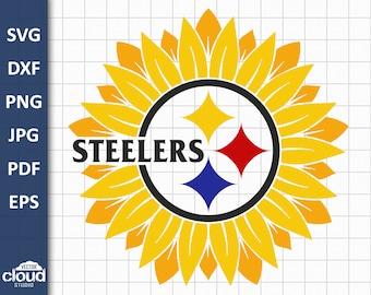 Pittsburgh steelers svg. Sunflower nfl vector svg, eps, dxf, png, jpg, pdf files for cricut, sublimation t-shirt, tumblers, mask design.