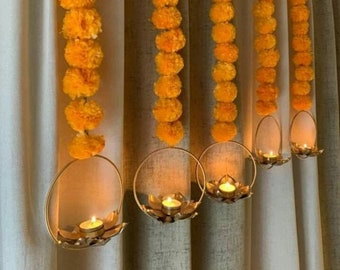 Artificial Marigld Flower Garland with Lotus, Wedding Decoration, Home Door Entryway Wall Hanging, Pooja Mandir Backdrop Indian Diwali Decor