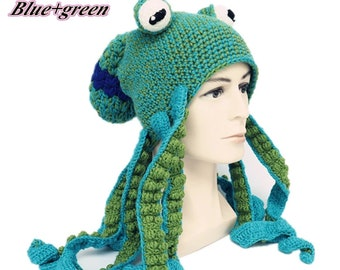 Knitted hat/warm octopus hat/creative hip-hop funny octopus hat/hand knitted/Funny Octopus Headgear