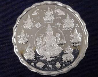 "Ashtalakshmi pure silver Coin 10 gm 999 hallmarked 999 Hindu Religous 32mm/1.25"""