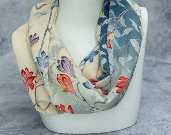 Silk Infinity Scarf Made From Vintage Kimono Silk - Magnolia Flowers - Beautiful Christmas Gift