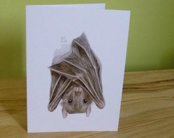 Egyptian Fruit Bat 'Hanging around' Greetings card