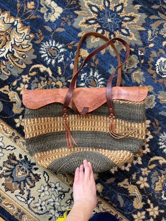 Leather bag purse tote handmade woven