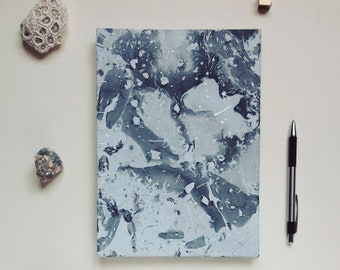Handmade A5 notebook, unique, black marbling, 64 pages
