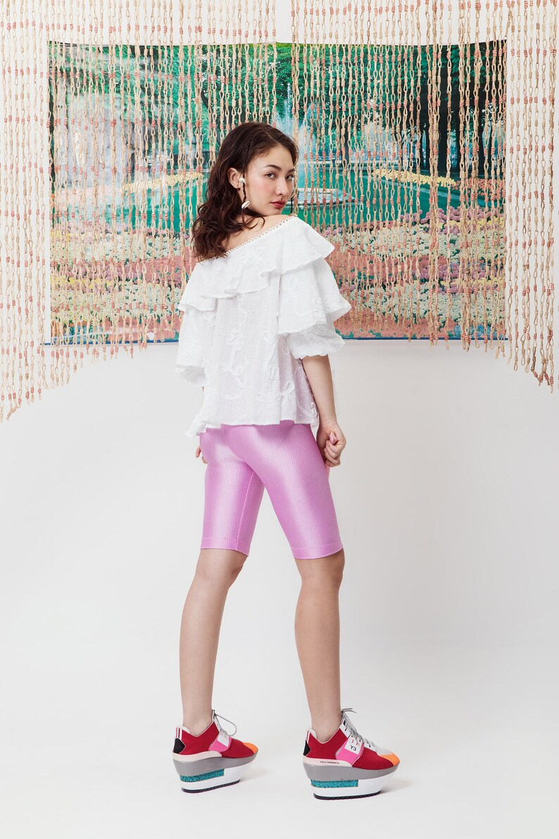 HOT SPIN SHORTS shiny Barbie pink rib knit polyester performance