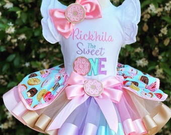 Donut Tutu Bday Outfit with hair bow