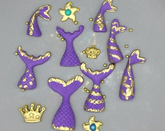 Mermaid Mini Tails for Cupcakes and Cake Pops with a Golden Touch and one Golden Jewel