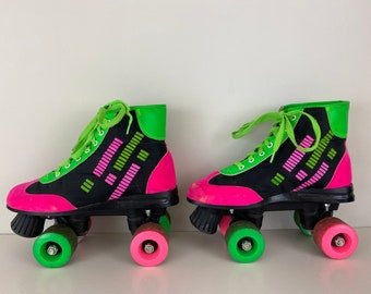 Vintage 90's Retro Roller skates black, neon green and pink, Size: EU 37 USwoman 5.5, UK 4.0