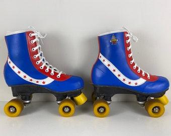 "Vintage children disco Roller skates blue, red and white, 70s Retro Rainbow rollerskates, ""Bart Smit"" Size EU 34 US child 2.5/3, UK 8.5 inch"