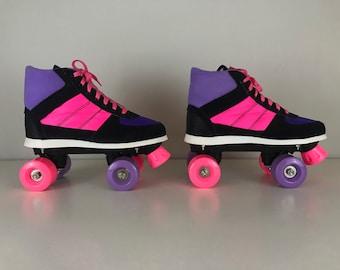 Vintage 90's Retro Roller skates black, purple and neon pink, New old stock, Size: EU 39 USwoman 7.5, USman 6.5, UK 6.0