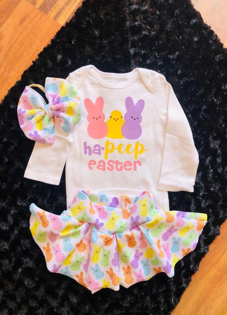 Easter bummiebaby Easter outfitskirted Easter bummiepeep onsieEaster shirtbaby\u2019s first Easterpeeps bummiecandy bummieshorties