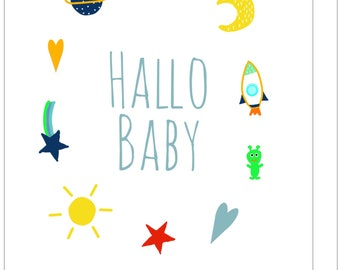 Postcard Hello Baby Space