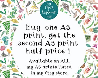 Buy one get the next half! Offer available on ALL of my A3 print size