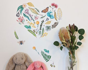 Wall and Stationary Stickers - Assortment of 40 Australian Native Flora Designs, Hand Drawn, Kids Arts and Crafts, Kids Room Decor