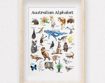 Australian Wildlife Alphabet Poster, Hand drawn Aussie Animals & Plants, Kids Room Illustrations, Nursery Wall Art, Printed to A2, A3 and A4