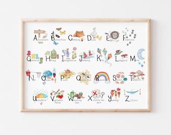 Kids Adventure Alphabet Poster - Hand drawn Illustrations encouraging Exploring, Adventure and Imagination - Various print sizes