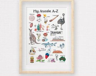 Australian Kids Alphabet Print, Hand Drawn Aussie A-Z, Children's Illustrations for all things Down Under