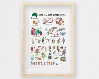 My Aussie Number for Kids, Hand Drawn Children's Illustrations 1 - 10 of all things Down Under!
