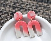 Polymer Clay Circle Mini Arch Dangle Earrings, Coral Pink, Pearl Shimmer, Minimalist, Geometric, Modern, Statement