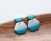 Polymer Clay Hexagon Dangle Earrings, Teal, Turquoise, Pearl Shimmer, Minimalist, Geometric, Modern, Statement, Watercolor, Ombre