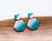 Polymer Clay Earrings, Heart Hexagon Dangle, Teal, Turquoise, Pearl Shimmer, Minimalist, Geometric, Statement, Watercolor, Ombre, Marble
