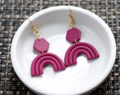 Polymer Clay Earrings, Fuchsia, Rainbow, Arch, Hexagon, Dangle, Geometric, Minimalist, Modern