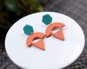 Polymer Clay Orange Teal, Hexagon Semicircle Triangle Dangle Earrings, Minimalist, Modern, Geometric Clay Earrings