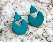 Polymer Clay Turquoise Geometric Circle Triangle Earrings, Minimalist