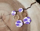 Polymer Clay Earrings, Purple Shimmer, Translucent Gold, White, Hexagon Dangle Earrings, Minimalist, Modern, Geometric Clay