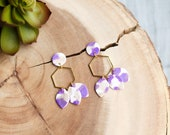 Polymer Clay Earrings, Purple, White, Gold Glitter, Circle, Gold Hexagon, Teardrop Leaf Earrings, Minimalist, Modern