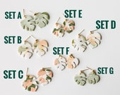 Polymer Clay Earrings, Palm Leaf, Tropical Leaf, Monstera Leaf, Minimalist, Olive Green, Peach, Gold, Marbled, 2 sizes, Dangle