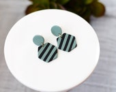 Polymer Clay Geometric, Minimalist, Circle, Hexagon, Black Sage Stripe, Black White Stripe with Yellow Honeycomb Dangle Earrings