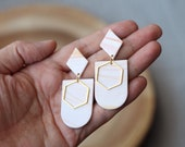 Polymer Clay Earrings, SemiCircle Diamond with Hexagon Detail, Minimalist, Geometric,Statement