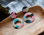 Polymer Clay Earrings, Hexagon Circle Dangle, Pink, Turquoise, Black, Translucent, Minimalist, Geometric, Modern, Statement