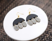 JELLY Polymer Clay Earrings, Black, Granite, Dangle, Semicircle, Oval, Minimalist, Statement, Modern, Geometric