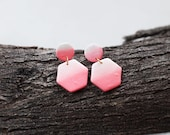 Polymer Clay Earrings, Coral, Pearl Shimmer, Watercolor, Ombre, Gradient, Circle, Hexagon, Geometric, Minimalist, Modern, Statement
