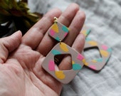 Polymer Clay Earrings, Tan, Turquoise, Pink, Yellow Terrazzo, Square, Geometric, Minimalist, Modern, Statement