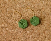 Polymer Clay Earrings, Hoop, Olive Green Hexagon with Hand Stamped Palm Leaf, Monstera Leaf, Tropical Leaf, Minimalist, Geometric, Statement