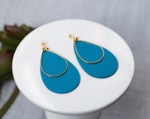 Polymer Clay Earrings, Peacock Blue, Pink, Gold Teardrop, Dangle, Minimalist, Geometric, Modern, Statement Earrings