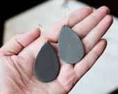 Polymer Clay Earrings, Terra Cotta, Graphite, Teardrop, Ear Wire Dangle, Minimalist, Geometric, Modern, Statement Earrings