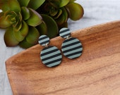 Polymer Clay Geometric, Minimalist, Circle, Black Sage Green Stripe, Dangle Earrings