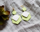 Polymer Clay Pistachio Green, White Speckle, Hexagon Square Dangle Earrings, Minimalist, Modern, Geometric Clay Earrings, Statement Earrings