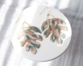 Polymer Clay Earrings, Golden Foliage, Classy, Gold Teardrop, Triangle, Palm Leaf, Tropical Leaf, Monstera Leaf, Minimalist, Statement