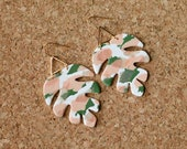 Polymer Clay Earrings, Classy, Peach, Olive Green, Gold Triangle, Palm Leaf, Tropical Leaf, Monstera Leaf, Minimalist, Statement